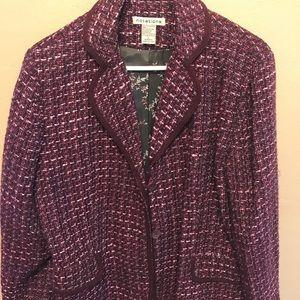 Plum tweed wool look short jacket